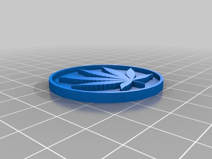 大麻叶硬币 3D打印模型渲染图
