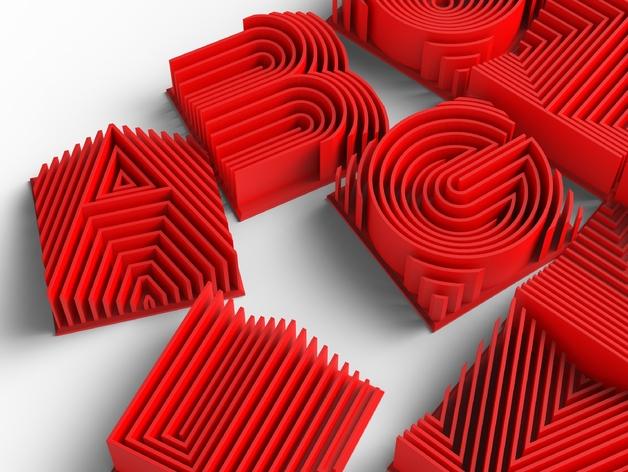 3D字母 3D打印模型渲染图