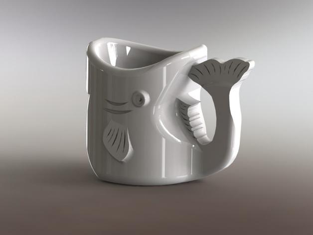 鱼杯 3D打印模型渲染图