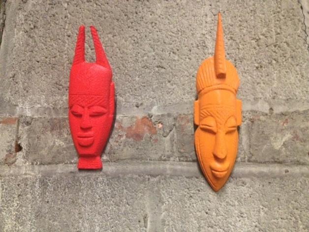非洲面具 壁挂 3D打印模型渲染图