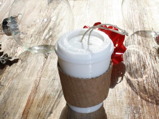圣诞装饰品:迷你咖啡杯 3D打印模型渲染图
