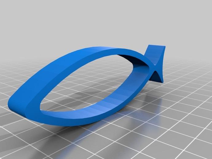 耶稣鱼 3D打印模型渲染图
