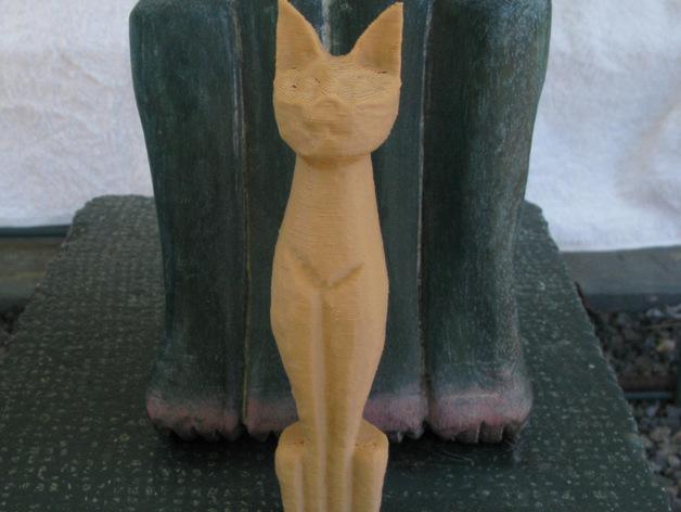 小猫雕塑 3D打印模型渲染图