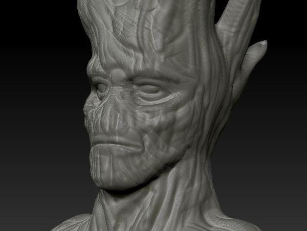 树精格鲁特 雕像 3D打印模型渲染图