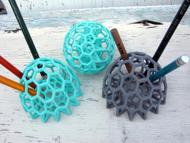 巴基球 笔架 3D打印模型渲染图