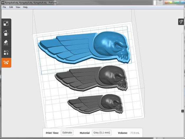 飞行的骷髅头 3D打印模型渲染图
