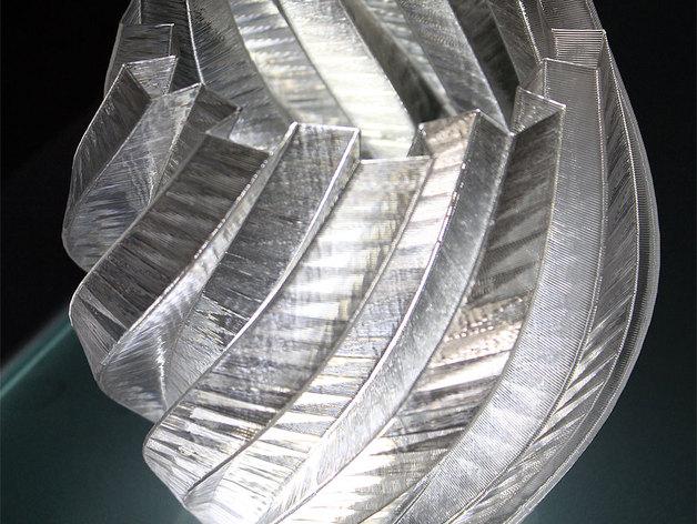 扭曲的齿轮花瓶 3D打印模型渲染图