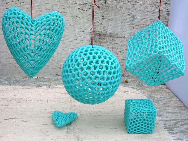 泰森多边形球体 心形体  立方体 3D打印模型渲染图