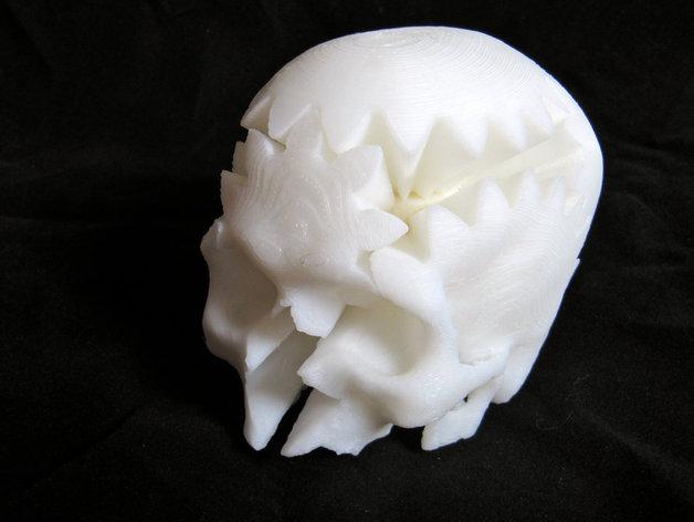 旋转齿轮 头骨模型 3D打印模型渲染图