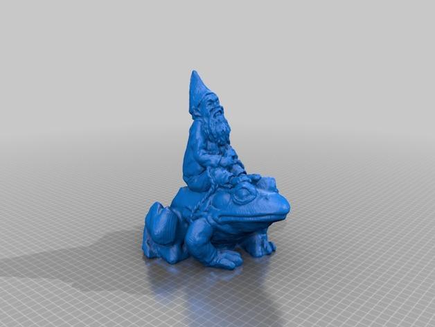 骑青蛙的侏儒 3D打印模型渲染图