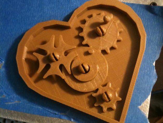 桌面爱心齿轮 3D打印模型渲染图