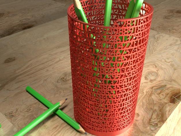 数字笔筒 3D打印模型渲染图