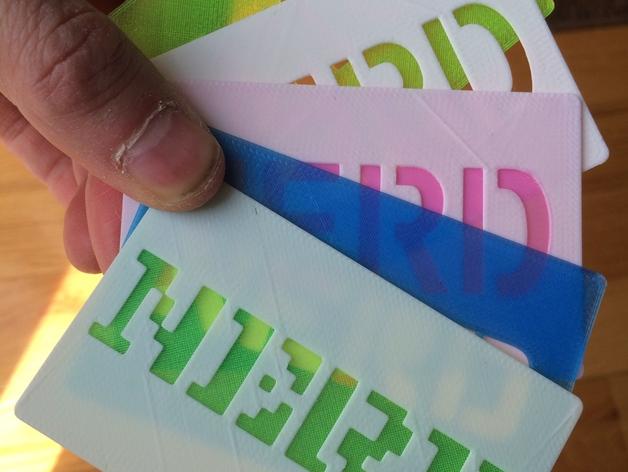 书呆子标签卡片 3D打印模型渲染图