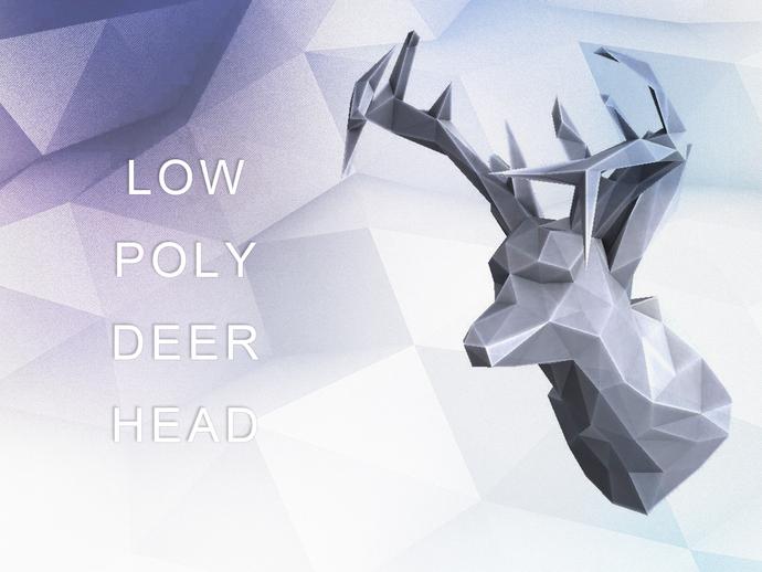 低面数 鹿头 3D打印模型渲染图