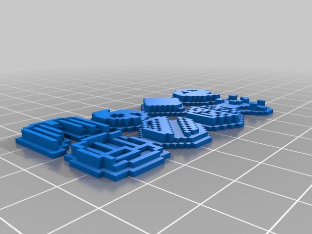 《口袋妖怪-水晶》中Johto的徽章 3D打印模型渲染图