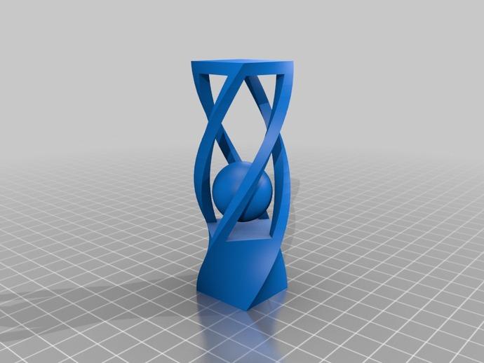 扭曲的笼子和小球 3D打印模型渲染图