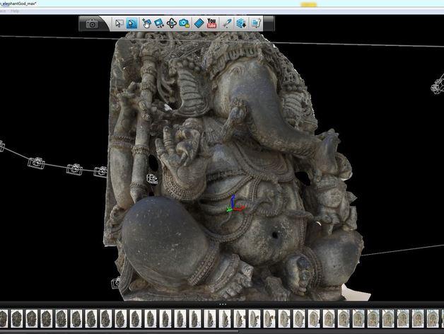 盘腿而坐的象头神 雕塑