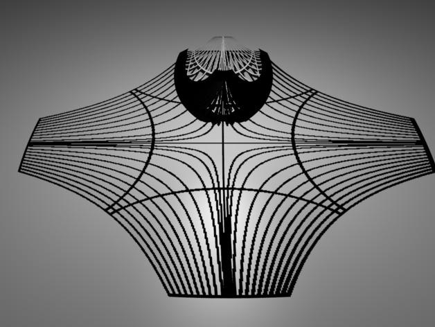 双曲线立体投影 3D打印模型渲染图