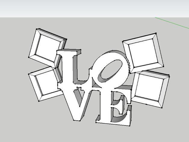 LOVE相框 3D打印模型渲染图