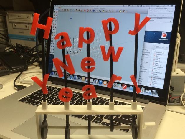 Happy New Year字母 3D打印模型渲染图