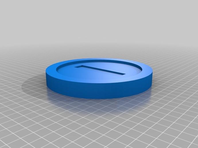 马里奥的硬币 3D打印模型渲染图