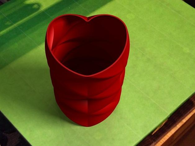 心形花瓶 3D打印模型渲染图