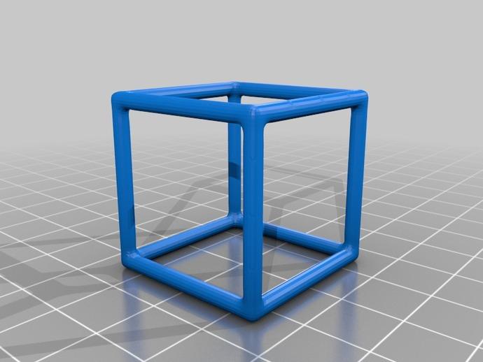 线框式正方体 3D打印模型渲染图