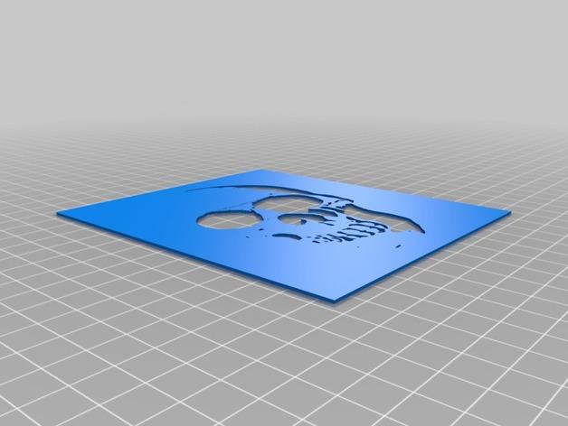 骷髅头图形漏字板 3D打印模型渲染图