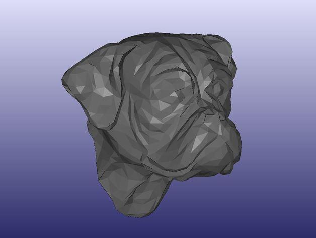 拳师犬头部模型 3D打印模型渲染图
