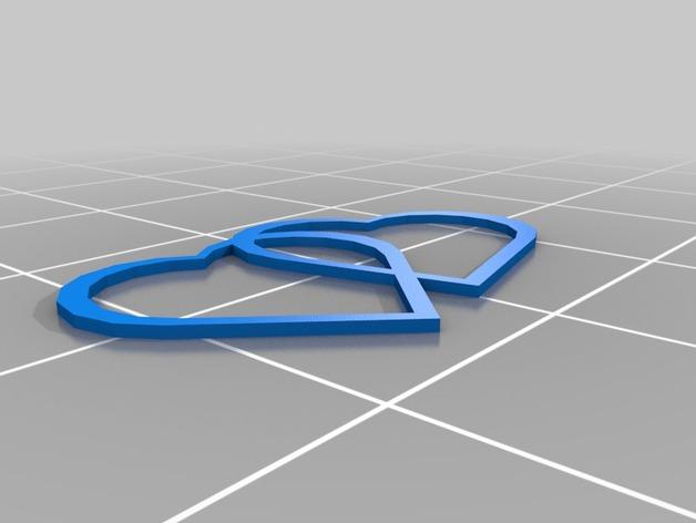 交融的心 3D打印模型渲染图