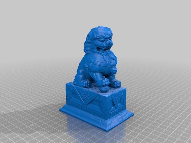 石狮雕像 3D打印模型渲染图