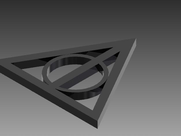 哈利波特死亡圣器标志 3D打印模型渲染图