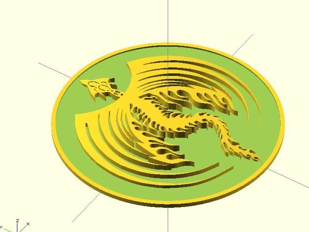 龙型奖章 3D打印模型渲染图