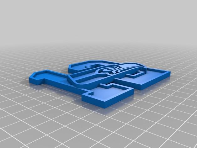 数字12和海鹰标志 3D打印模型渲染图