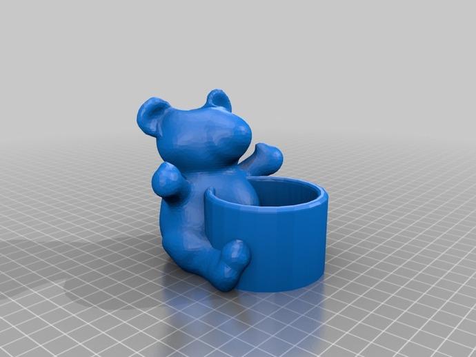 小熊笔筒 3D打印模型渲染图