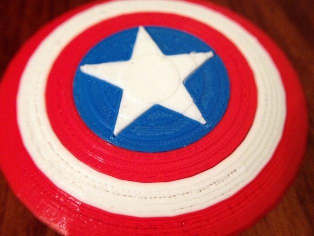 美国队长盾牌徽章 3D打印模型渲染图