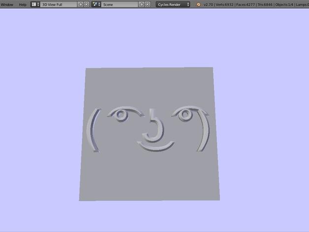 Lenny Face表情符 3D打印模型渲染图