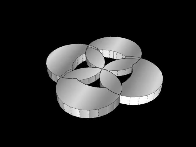 四瓣花装饰品 3D打印模型渲染图
