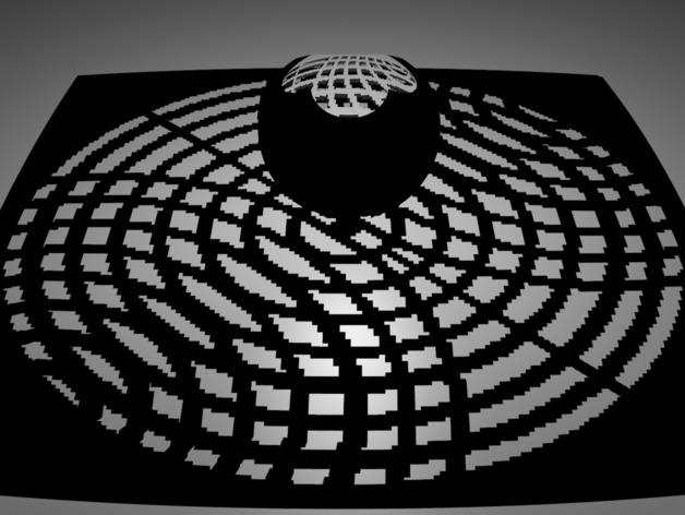球面投影 蛛网图案 3D打印模型渲染图