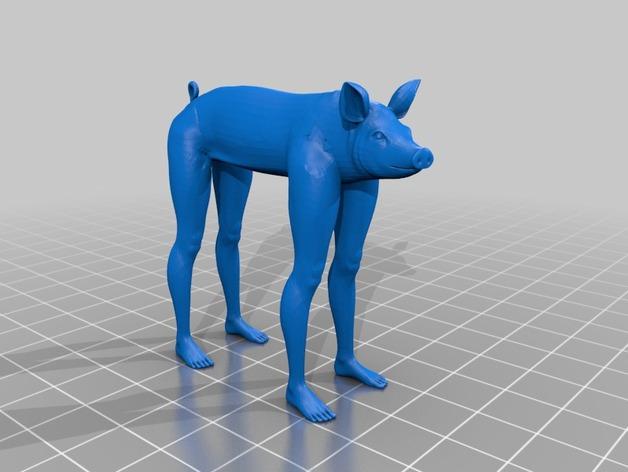 长腿猪模型 3D打印模型渲染图