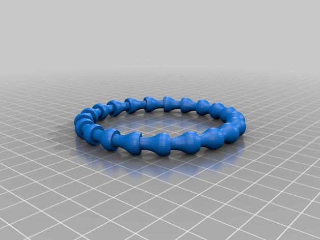 可伸缩手链 3D打印模型渲染图