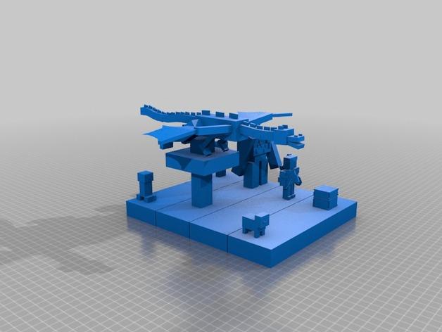 我的世界 游戏角色套组 3D打印模型渲染图