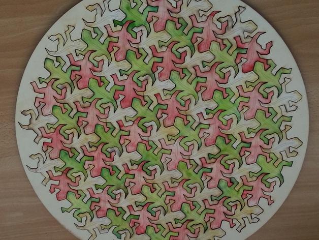 埃舍尔蜥蜴拼贴板 3D打印模型渲染图