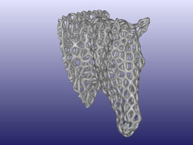泰森多边形马头模型 3D打印模型渲染图