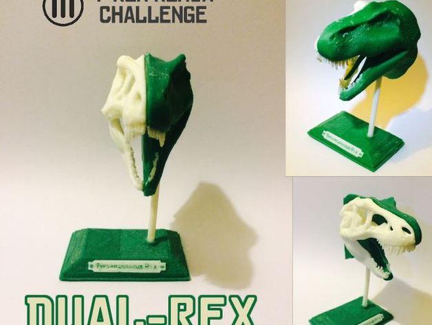 双色恐龙头骨 3D打印模型渲染图