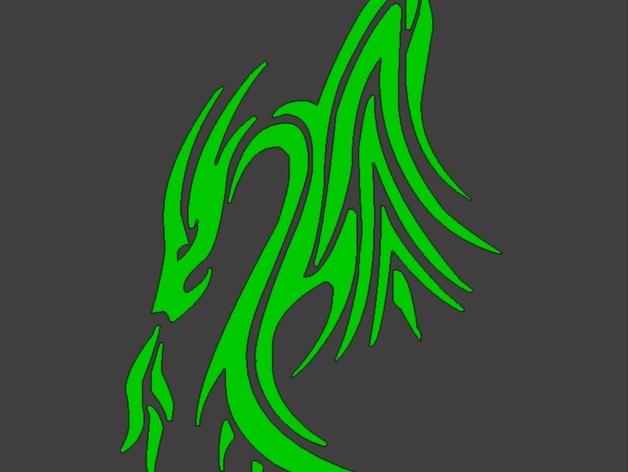 龙形图案6 3D打印模型渲染图