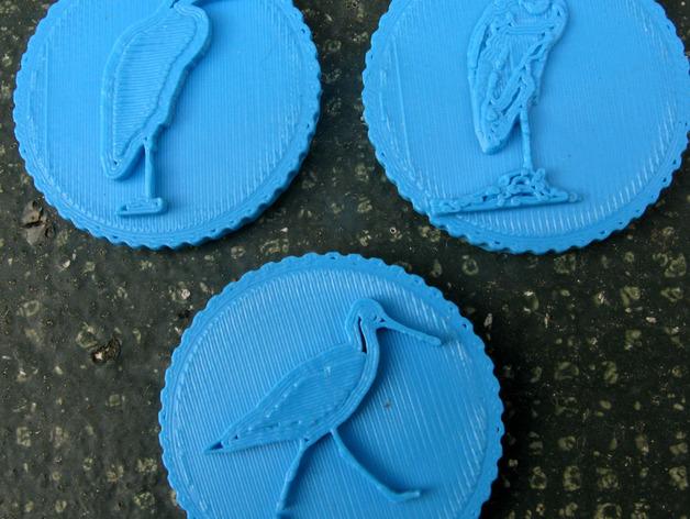鸟类 徽章 3D打印模型渲染图