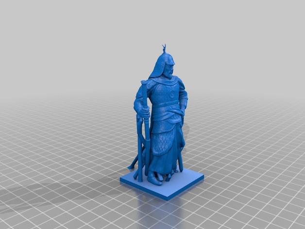 李舜臣  塑像 3D打印模型渲染图