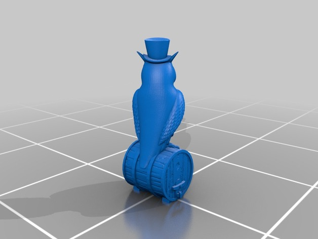 站在木桶上的猫头鹰 3D打印模型渲染图