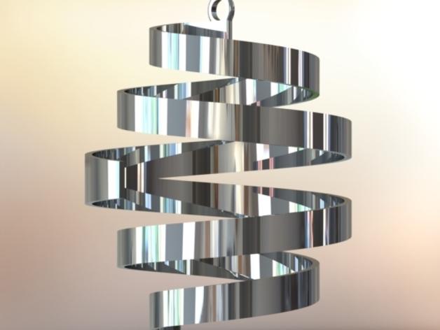 螺旋式圣诞装饰品 3D打印模型渲染图